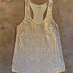 Express White Sequin Top